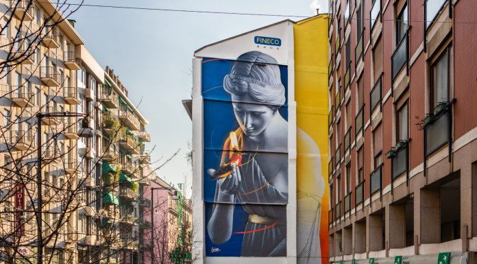 Street Art In Store art wall Fineco Bank: the mural L'Araldo in Corso Garibaldi in Milan